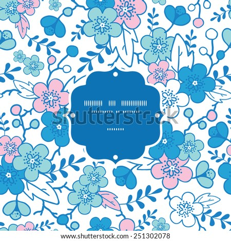 Vector blue and pink kimono blossoms frame seamless pattern background - stock vector