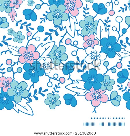 Vector blue and pink kimono blossoms horizontal frame seamless pattern background - stock vector