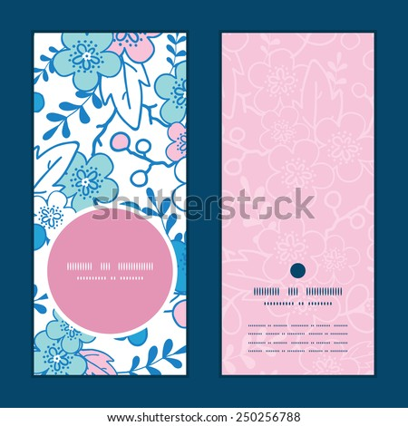 Vector blue and pink kimono blossoms vertical round frame pattern invitation greeting cards set - stock vector