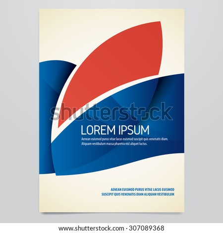 Vector blue and red brochure, annual report, flyer, magazine cover template - stock vector