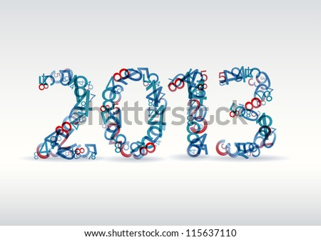 Vector blue and red New Year card 2013 made from numbers - stock vector