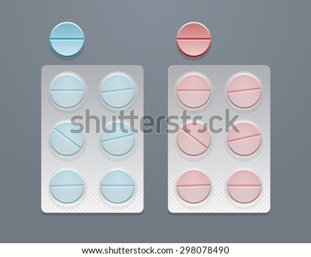 Vector blue and red round pills in blister packs, eps10  - stock vector