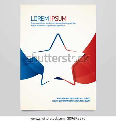 Vector blue and red star brochure, flyer, magazine cover template. Modern corporate design. - stock vector
