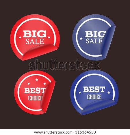 Vector blue and red stickers with curled edge. Stickers on the theme of consumerism. Big sale and best choice stamp.  - stock vector