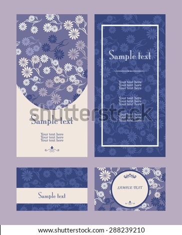 Vector blue and violet  line art flowers vertical frame pattern invitation greeting and thank you cards set  - stock vector