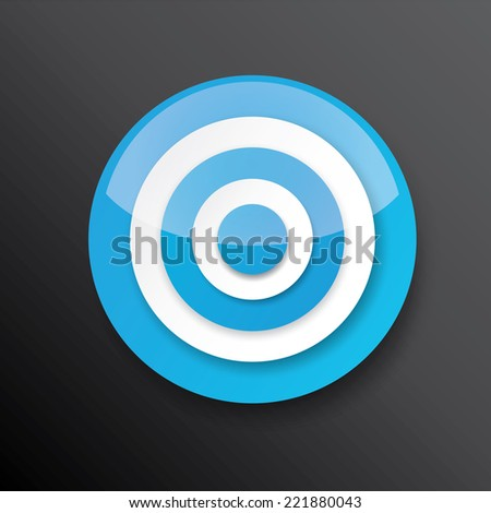 vector blue and white target icon on black. vector glossy target symbol design element