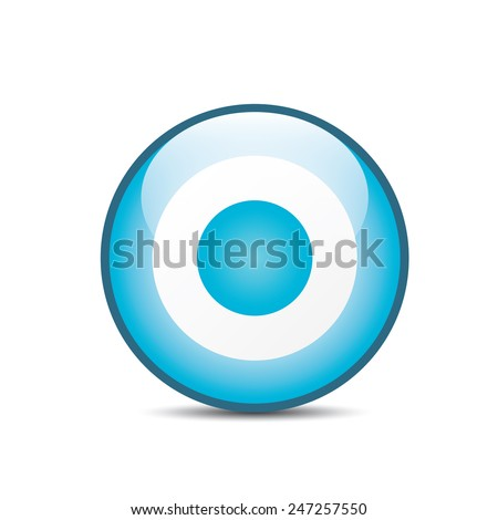 vector blue and white target icon. vector glossy target symbol design element