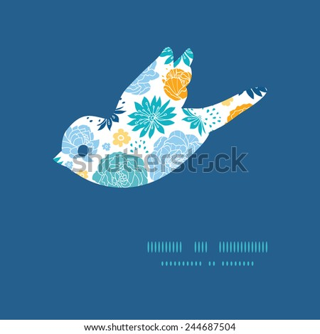 Vector blue and yellow flowersilhouettes bird silhouette pattern frame - stock vector
