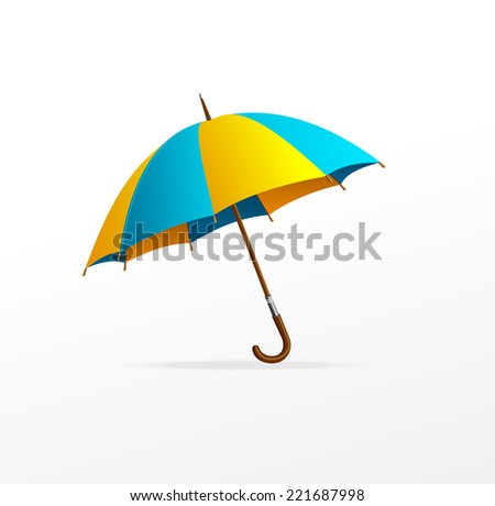 Vector blue and yellow umbrella isolated on white - stock vector