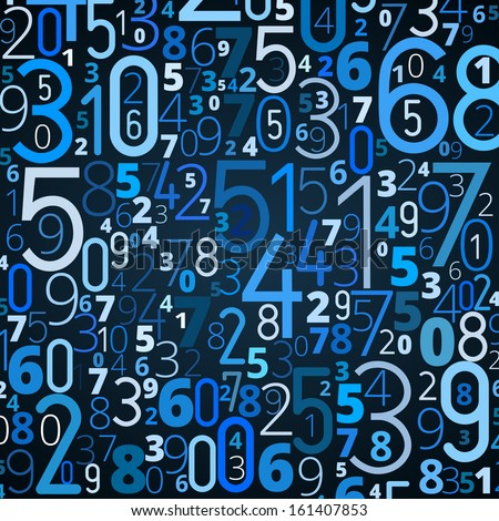 Vector blue background from different blue and white numbers typography
