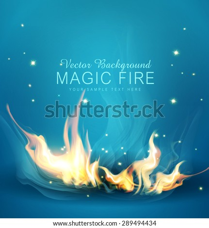 Vector blue background with a burning fire - stock vector