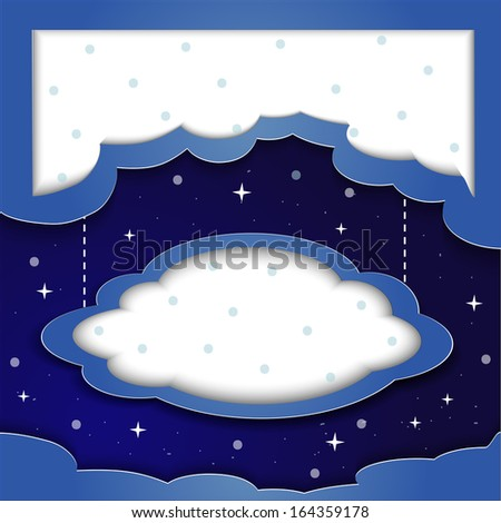 Vector blue background with clouds and the stars with space for text beautiful night, background labeling - stock vector