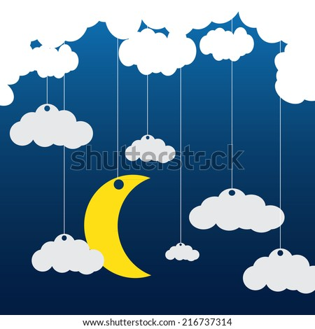 Vector blue background with clouds, the new moon  - stock vector
