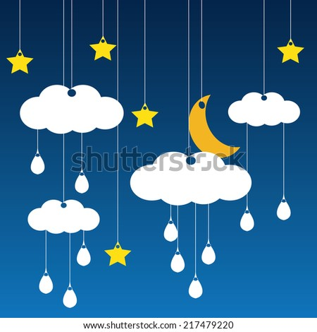 Vector blue background with clouds, the new moon , rain and the stars - stock vector