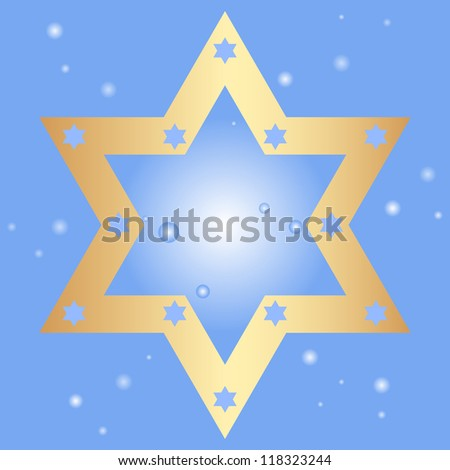 Vector blue background with golden star of David - stock vector