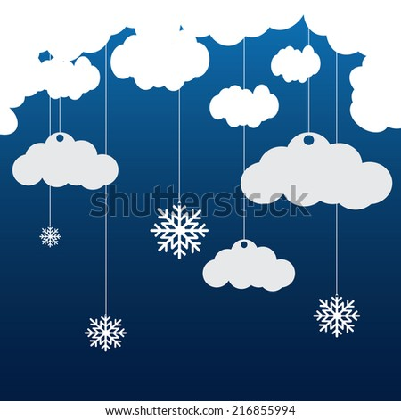Vector blue background with hanging clouds and snowflakes/ christmas card - stock vector