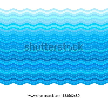Vector blue background with stylized waves - stock vector