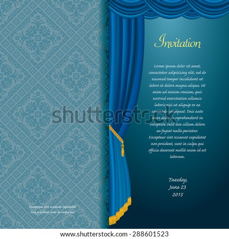 vector blue baroque invitation card with curtain