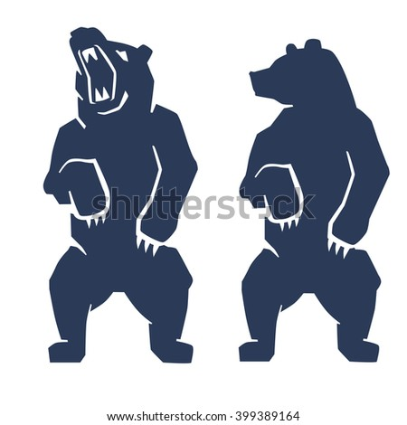 vector blue bear icon on white background - stock vector