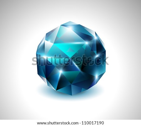 vector blue beautiful gemstone - stock vector
