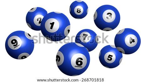 Vector Blue Bingo / Lottery Number Balls - stock vector