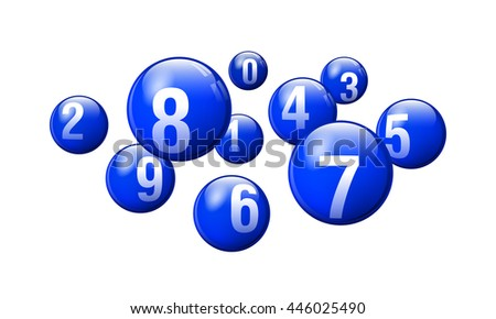 Vector Blue Bingo / Lottery Number Balls on White Background - stock vector