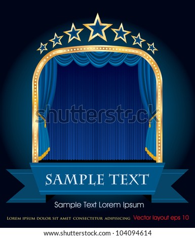 vector blue blank banner on stage with blue curtain and stars - stock vector