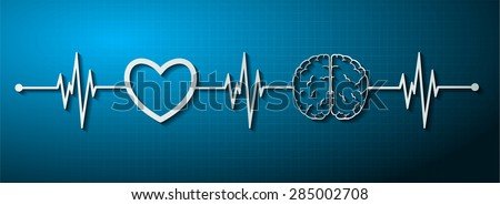 vector blue brain processes technology, creative idea concept. wave. ECG, EKG, electrocardiogram. pulse heart - stock vector