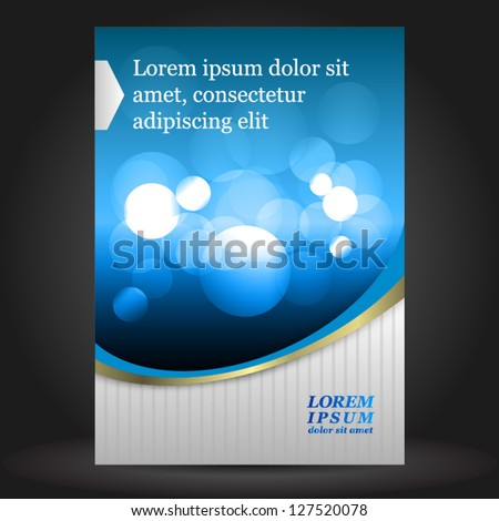 Vector blue brochure cover design with abstract elements. EPS 10 - stock vector