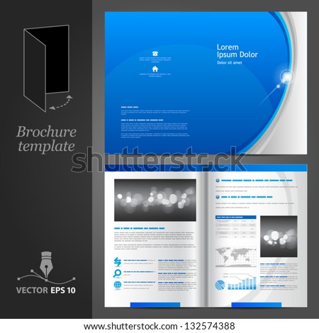 Vector blue brochure template design with gray round elements. EPS 10 - stock vector