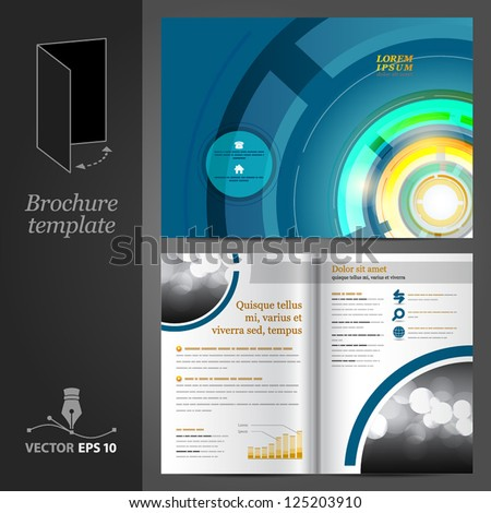 Vector blue brochure template design with round elements. EPS 10 - stock vector