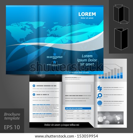 Vector blue brochure template design with world map. EPS 10 - stock vector