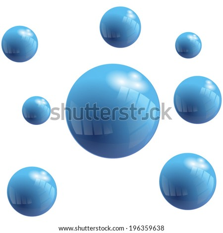 Vector Blue Bubbles with reflect effect. Abstract Background - stock vector