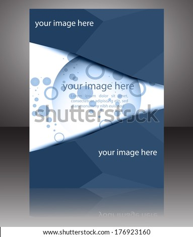 Vector blue business brochure cover design