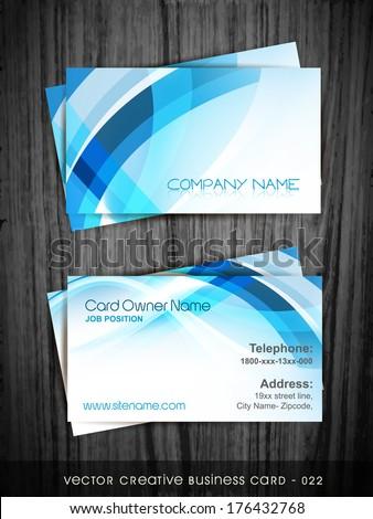 vector blue business card design - stock vector