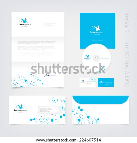 Vector blue business stationary design template with flying pelican silhouette logo and paint splatter. Letter, envelope, cd and business cards. Modern branding collection. - stock vector