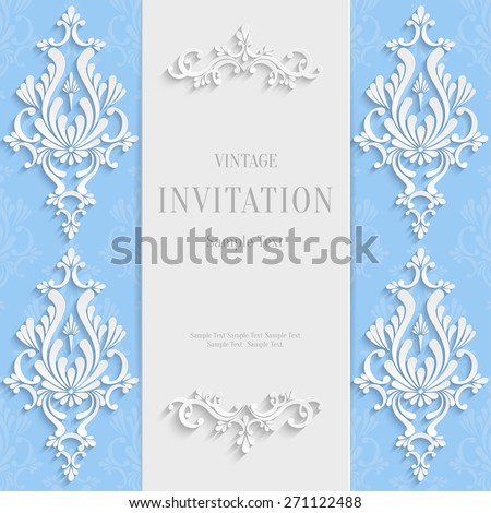 Vector Blue Christmas Vintage Invitation Card with 3d Floral Pattern - stock vector
