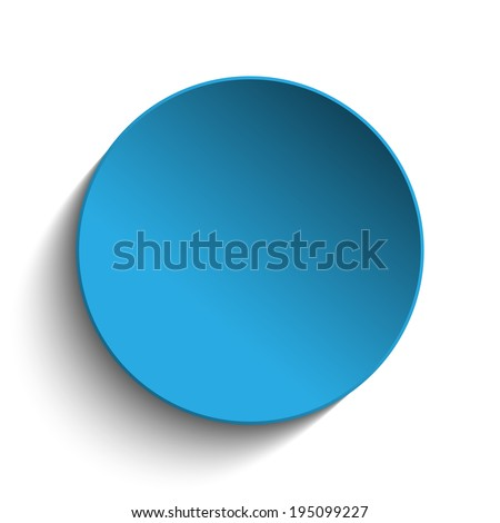 Vector - Blue Circle Button on White Background