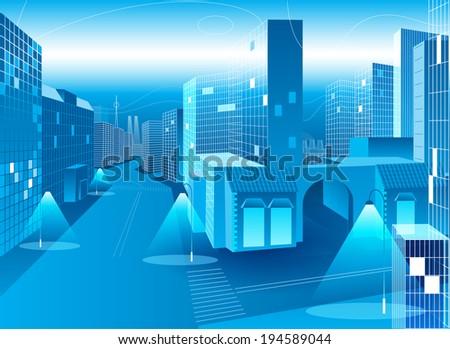 vector blue city  - stock vector