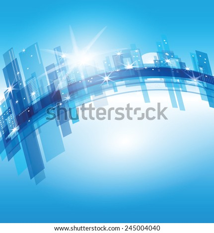 vector blue city (abstract background) - stock vector