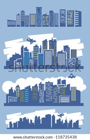 vector blue city icons set on blue - stock vector