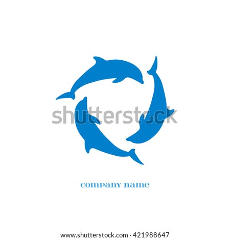 Vector Blue Dolphins Silhouettes over white