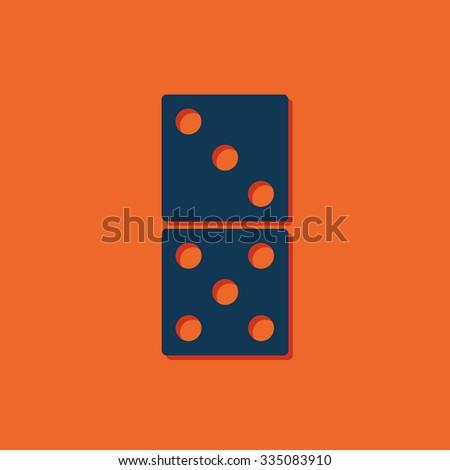 Vector blue domino icon on orange background  - stock vector