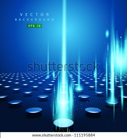 Vector blue dot and vertical line - stock vector