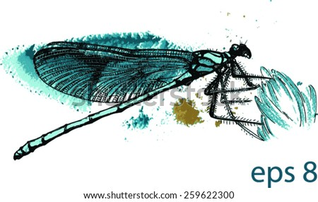 Vector blue dragonfly black and silver drawing on a blue green watercolor splash background. Fabric texture. Template for scrapbook.