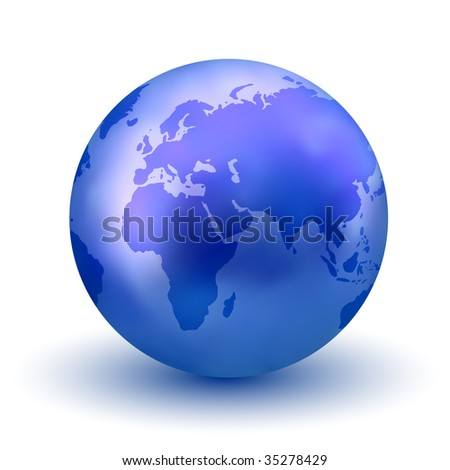 Vector Blue Earth Globe - stock vector