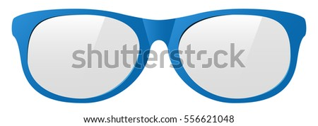 vector blue eyeglasses with the light shine