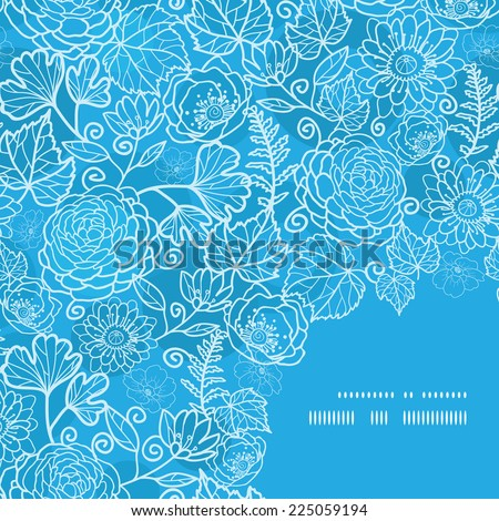 Vector blue field floral texture frame corner pattern background - stock vector