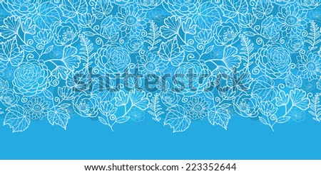 Vector blue field floral texture horizontal border seamless pattern background - stock vector