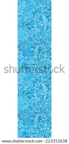 Vector blue field floral texture vertical border seamless pattern background - stock vector